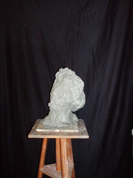 punched bust in clay